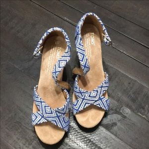 TOMS Blue Pattern Wedge Sandal